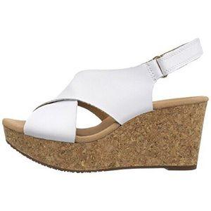 Clarks Annadel Eirwyn white cork sandal wedge